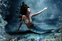Mermaid. Mythology being, mermaid in underwater scene, photo compilation Royalty Free Stock Photo