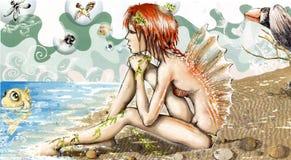 Mermaid. Tenn mermaid near the seaside royalty free illustration