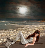 Mermaid. Adult mermaid lying on the beach in the moonlight Royalty Free Stock Photo