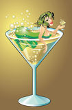 Mermaid. In a glass of chummy Royalty Free Stock Photo