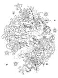 Mermaid adult coloring page Stock Images