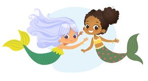 Mermaid African Caucasian Character Friend Nymph. Young Underwater African American Female Cute Mythology Princess. Painting. Aquatic Isolated Marine Siren vector illustration