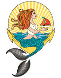 Mermaid-ala-pin-up Royalty Free Stock Images