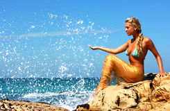 Mermaid At Beach Royalty Free Stock Photos