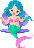 Mermaid baby in the shell Royalty Free Stock Photo