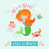 Mermaid baby shower. Cute baby shower design for girl with mermaid Royalty Free Stock Photo