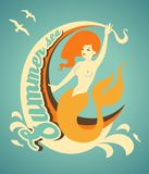Mermaid with banner Stock Image