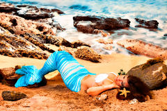 Mermaid on beach Royalty Free Stock Photos
