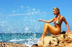 Mermaid at beach Royalty Free Stock Photos