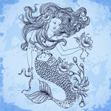 Mermaid with beautiful hair, flowers and buds. Tattoo art. Retro banner, invitation,card, scrap booking, t-shirt, bag, postcard, Stock Photography