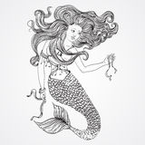 Mermaid with beautiful hair holds a ribbons. Tattoo art. Retro banner, invitation,card, scrap booking. t-shirt, bag, postcard, pos. Ter.Highly detailed hand Stock Photo