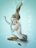 Mermaid beautiful magic underwater mythology being original phot. O compilation. Mermaid girl. Beautiful woman's portrait Stock Photos