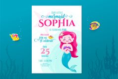 Mermaid birthday cute invite card design for little princess. Kids party anniversary. Sea underwater invitation. Vector illustration vector illustration