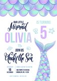 Mermaid Birthday party invitation card. Holographic fish scales. And tail invitation. Sea party invitation with lettering . Vector illustration royalty free illustration