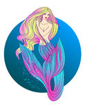 Mermaid with blond hair Stock Images
