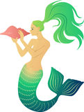 Mermaid blowing a conch horn Royalty Free Stock Image