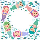 Mermaid with blue green and pink hair cute kawaii girl coral fish, card banner design, wreath round frame for your text, copy spac. E, on white background Royalty Free Stock Images