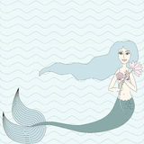 Mermaid with blue hair. On light blue-green wavy background vector illustration