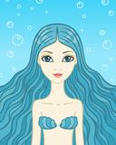 The mermaid with blue hair Royalty Free Stock Images
