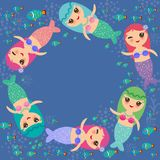Mermaid with blue and pink hair cute kawaii girl coral fish, card banner design, copy space, on dark blue background. Vector Stock Image