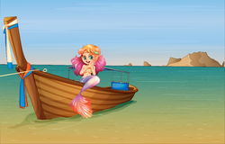 A mermaid at the boat Royalty Free Stock Images