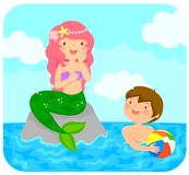 Mermaid and a boy Stock Image