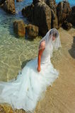 Mermaid bride on exotic beach Royalty Free Stock Image