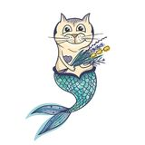 Mermaid Cat Vector Character. Creative sketch sea kitty undine illustration on white background Stock Image