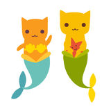 Mermaid cat vector illustration Stock Images
