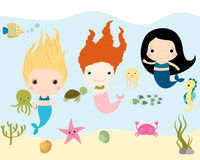 Mermaid characters and sea animals vector collection Stock Photos