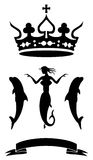 Mermaid coat of arms silhouette a crown Royalty Free Stock Photo