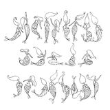 Mermaid collection, sketch for your design Royalty Free Stock Images