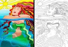 Mermaid colorful portrait and line art stock illustration