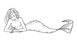 Mermaid coloring book page Royalty Free Stock Photos