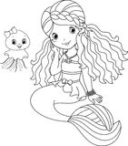Mermaid coloring page Stock Photos
