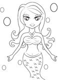 Mermaid coloring page Stock Image