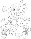 Mermaid coloring page Stock Photo