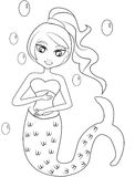 Mermaid coloring page vector illustration