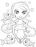 Mermaid coloring page. Useful as coloring book for kids Stock Images