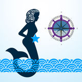 Mermaid with compass waves. Beautiful mermaid with compass star and waves Royalty Free Stock Images