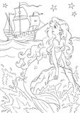Mermaid. Contour black and white drawing of a mermaid girl looking on a ship in the sea (coloring page Royalty Free Stock Photo
