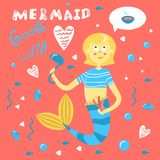 Mermaid cooks with love. Funny inscription on the underwater life. Cute character mother mermaid with ladle cooks soup. Funny card with a woman siren. Blonde royalty free illustration