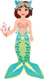 Mermaid with coral Stock Photo