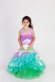 Mermaid costume. Little girl dressed as mermaid for halloween stock photo