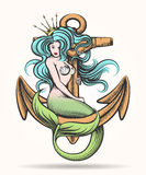 Mermaid with Crown on the Anchor. Beauty blue haired Siren Mermaid with golden crown sitting on the rusty anchor. Colorful Vector illustration in tattoo style Vector Illustration