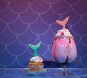 Mermaid cupcake and mermaid rainbow milkshake.
