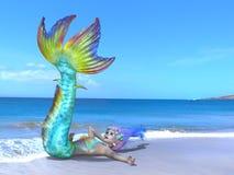 Mermaid. 3D CG rendering of a mermaid stock photo