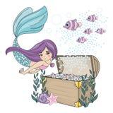 MERMAID DIAMOND Sea Travel Clipart Color Vector Illustration Set for Print stock illustration