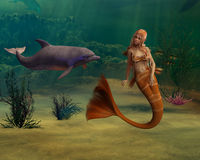 Mermaid and Dolphin Royalty Free Stock Image