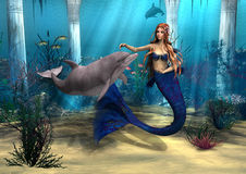 Mermaid and Dolphin. 3D digital render of a cute mermaid and dolphin on blue fantasy ocean background Royalty Free Stock Photos